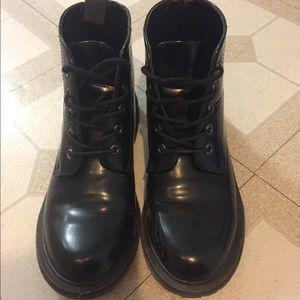 Black Lace Up Boots - Dr Martens Dupe